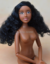 Original Macmillan Germany Black Skin Doll / with 11 Joint Flexible / Africa Doll Black Curly Thick Hair For Barbie Doll Gift