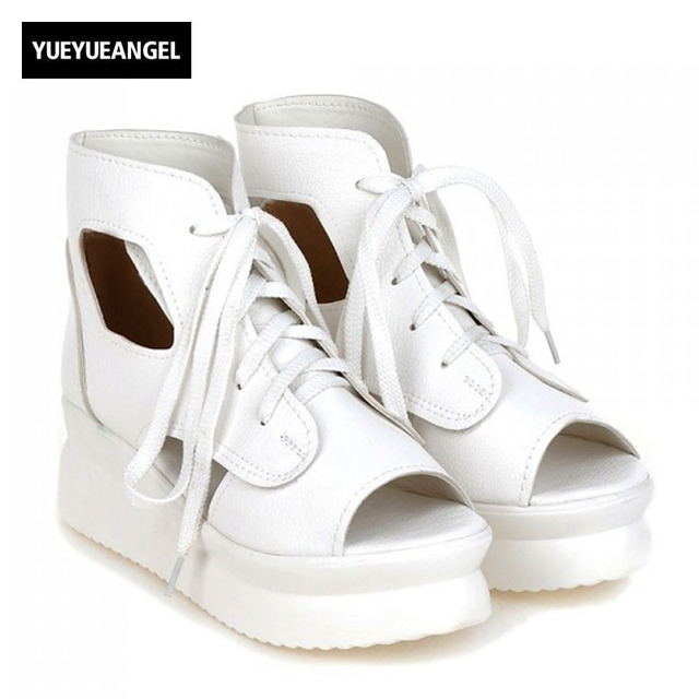 9edac28ff0f9 Womens Lace Up Flatform Sandals Ankle Shoes High Top Platform Wedge Heel  Hollow White Color Open Toe Summer Casual Shoes Female