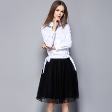 2016 2 piece High Quality women sexy fashion clothing set  white shirt +lace mesh skirt 1602