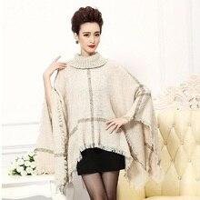 ealAB plus size women clothing cape coat poncho trench winter coats ladies cloak manteau femme sweater coat wool blend overcoat(China)