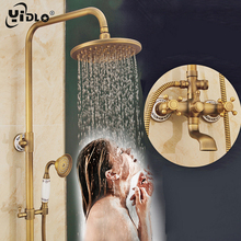 YiDLon Shower Faucets Antique Finish Bathroom Faucet Brass Bath Rainfall With Spray Shower Head Europe Faucet Bath Shower Set цены онлайн