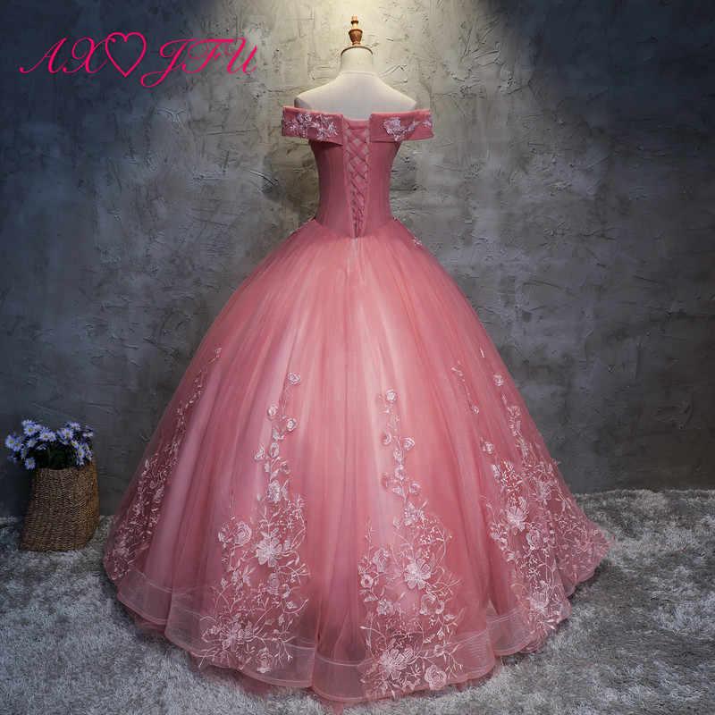 AXJFU/розовое кружевное вечернее платье принцессы с цветочным узором, Роскошное винтажное вечернее платье с бусинами и жемчугом для невесты с вырезом лодочкой и розовой розой