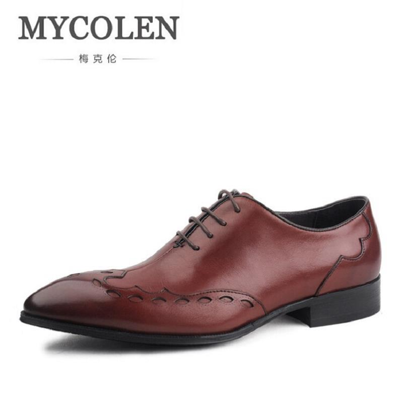MYCOLEN Brand Leather Oxford Men Shoes Casual Brown Men Wedding Shoes High Quality Business Soft Leather Shoes For Men Scarpe zero more brand fashion men shoes casual black oxford shoes for men high quality soft leather men wedding shoes zm131