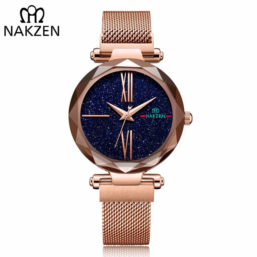 NAKZEN Роскошные Брендовые женские часы, модные женские часы, часы с циферблатом звезда розового золота, кварцевые часы с ремешком, часы reloj mujer