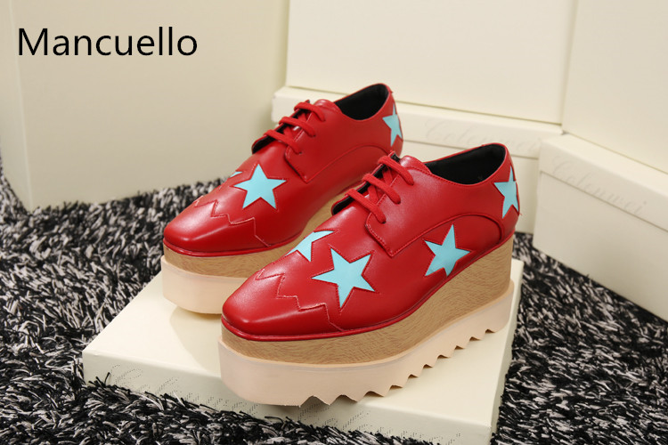 2017 Hot Sale Spring Autumn Shoes Women Square Toe Lace Up Casual Shoes Stars Appliques Thich Sole Platform Shoes
