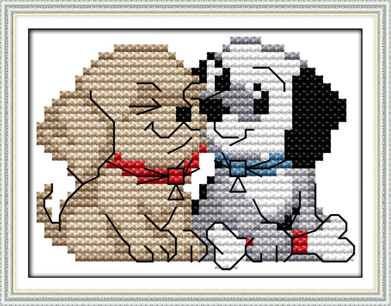 Detail Feedback Questions about Two dog Cross Stitch Kits