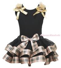 Черный верх рубашка рюшами с бантом проверьте плед атласной отделкой юбки девушки экипировка комплект NB-8Year MAPSA0876