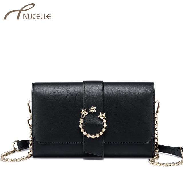 ac1ad8925fe7 NUCELLE Brand Women s Leather Messenger Bag Ladies Fashion Five Star Chains  Clutch Purse Female Elegant Flap Crossbody Bags