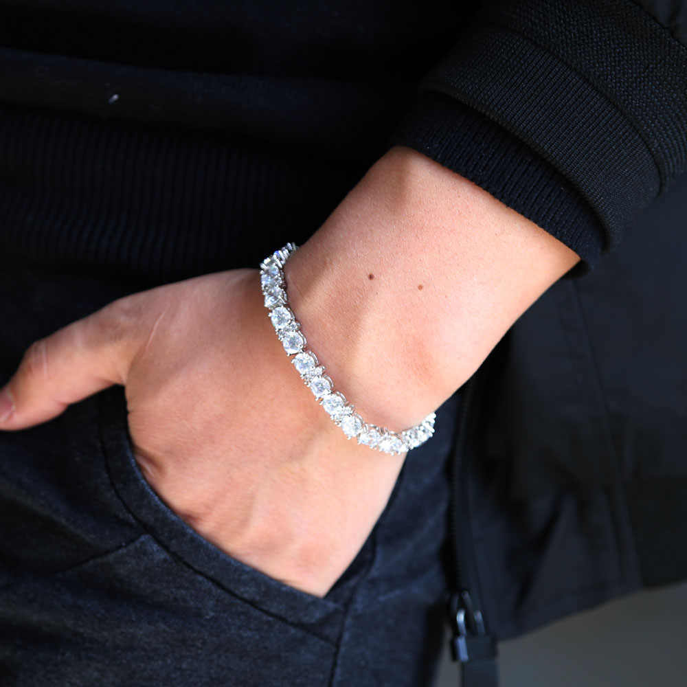 2019 Fashioh, kryształowe CZ bransoletka cyrkon koralik bransoletki łańcuch srebrny strand bransoletki dla Hip hop mężczyźni kobiety biżuteria