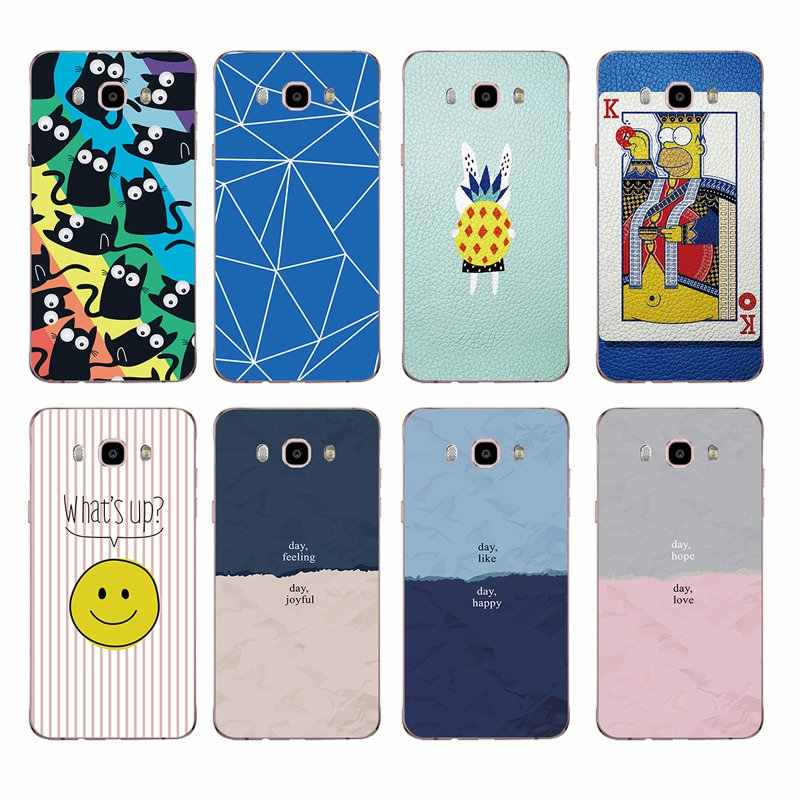 smile Cartoon pineapple cat blue pink Soft TPU Phone Case For Samsung A5 J3 J5 J7 J1 J2 S6 S7 S8 S8plus note8 c5 c7 c9 S9 C153