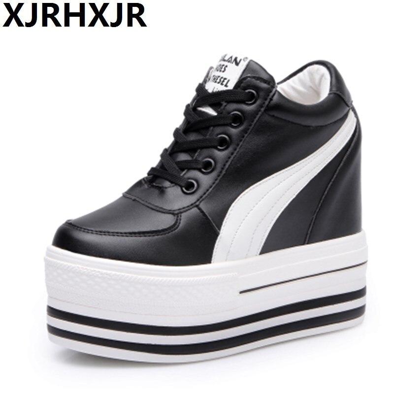 2019 chaussures de loisir à la mode femmes printemps automne haut talon caché 12 cm à lacets chaussures plates pour femme noir/blanc chaussures femme