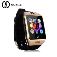 SOGRACE Q18 Bluetooth Smart Watch Golden Sokongan SIM Kad TF Kad untuk Smartphone IOS Xiaomi Samsung Huawei iphone Smartwatch