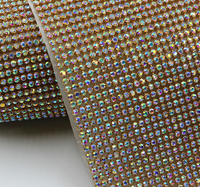 45x120cm/roll rhinestone crystal ab goldmetal trim aluminum mesh glass strass crystal banding bridal applique clothes bag crafts