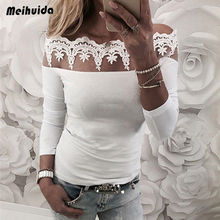 Women Blouses 2019 Fashion Long Sleeve Loose Pullover Casual Tops Shirt Blouse Sexy Solid Lace Cold Shoulder Blusas Femininas blue cold shoulder long sleeves lace blouses
