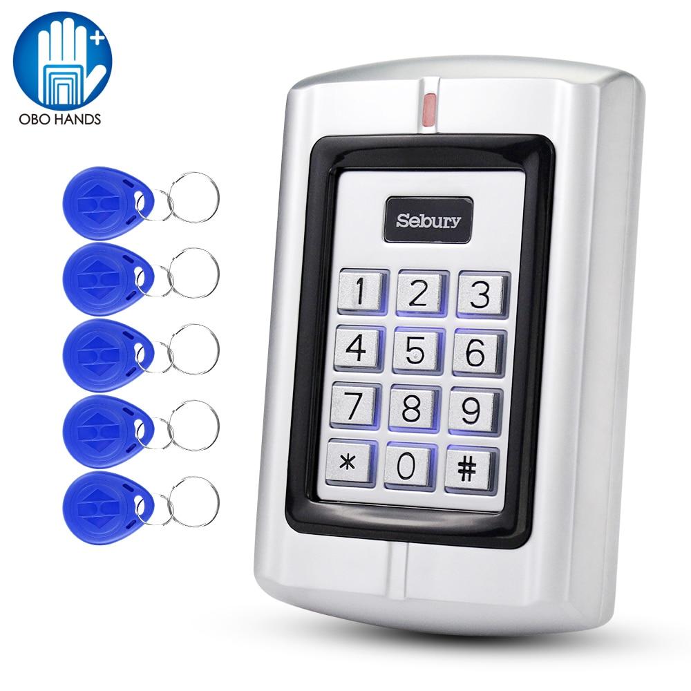 OBO Sebury Metal Access Control Keypad 125KHz Standalone RFID Board Access Controller EM Card Reader + 5pcs EM Keychains Tags