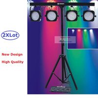 2Pcs Lot Flat Par Kits High Power 80W Led Stage Light With Light Stand DMX