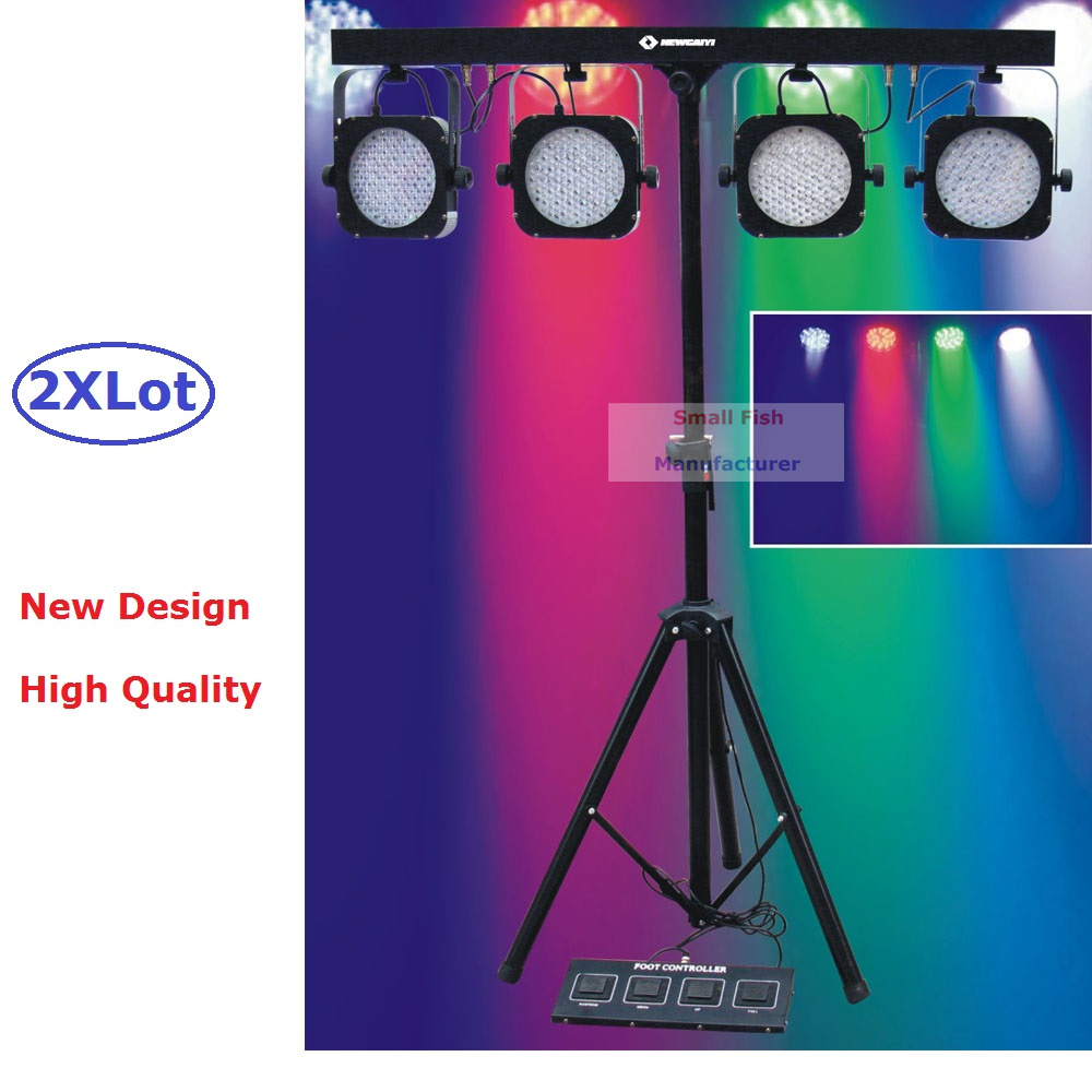 2Pcs/Lot Flat Par Kits High Power 80W Led Stage Light With Light Stand DMX Controller Bag Package Set DJ Disco Fast Shipping