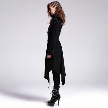 Devil Fashion Heavy Punk Rock Asymmetric Long Jacket Coats for Women Steampunk Black Autumn Winter Cotton Overcoat Windbreakers 2