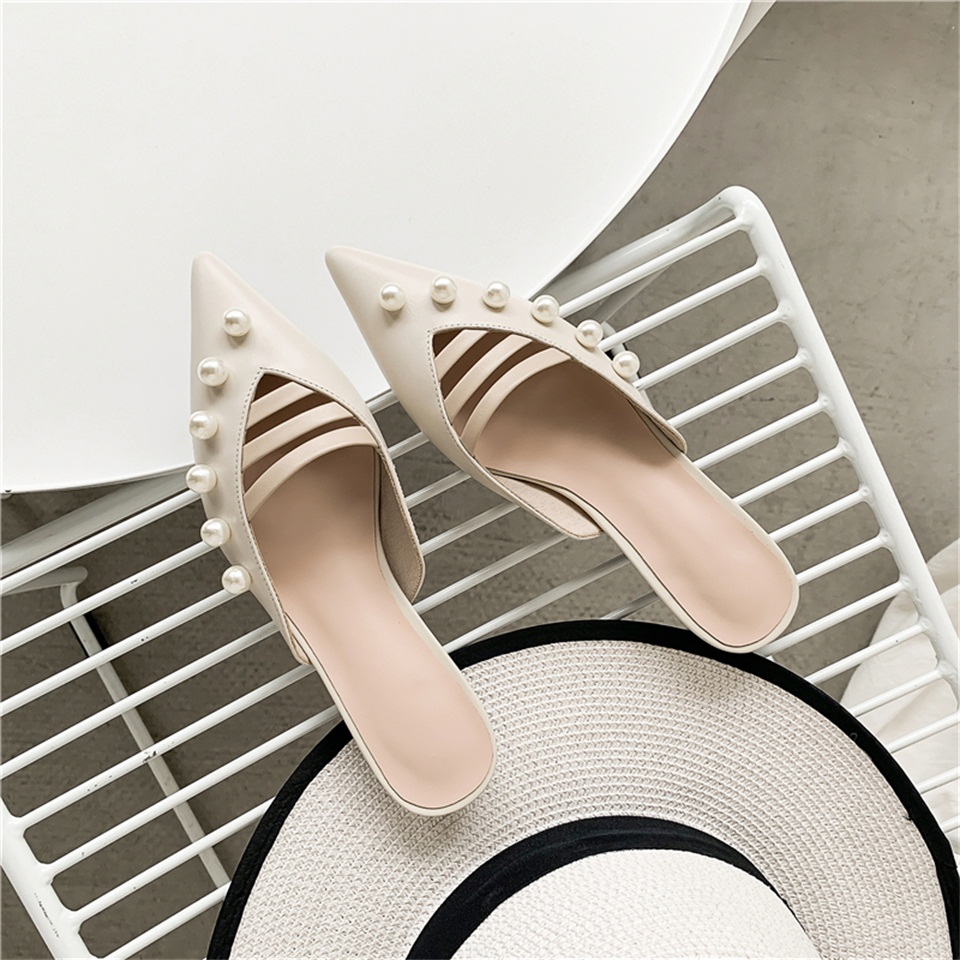 Women 39 s slippers high quality real leather material exquisite pearl decoration comfortable inside pointed toe slippers women 39 s s in Slippers from Shoes