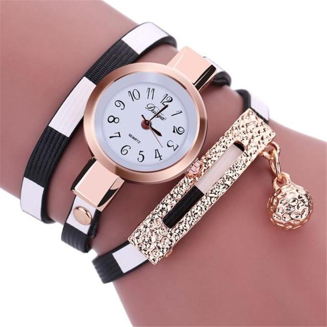 2018 Fashion Women Charm Wrap Around Leatheroid Quartz Wrist Watch Women Watches