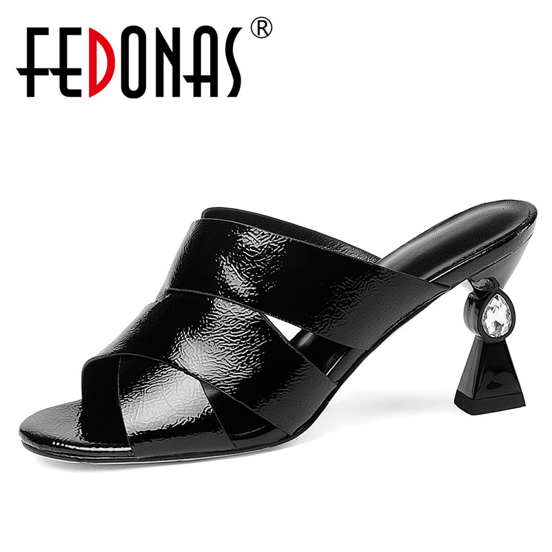 FEDONAS Brand 2018 New Thick Heels Sandals Female Summer Fish Mouth Roman Genuine Leather Shoes Woman Sandals Female Slippers