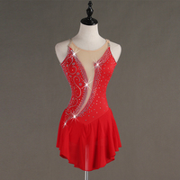 Ice Skating Dress Women Sleeveless Red Handmade Fine Drill Girls Figure Skating Dress Customize Stage Performance Wear B017