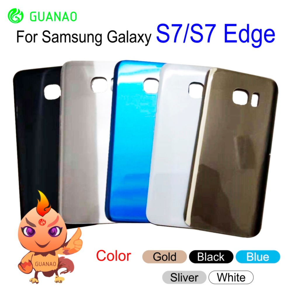new Rear s7 Housing Case For Samsung Galaxy S7 S7 Edge G930F G935F battery back cover Door Glass With Sticker Black Gold Blue image