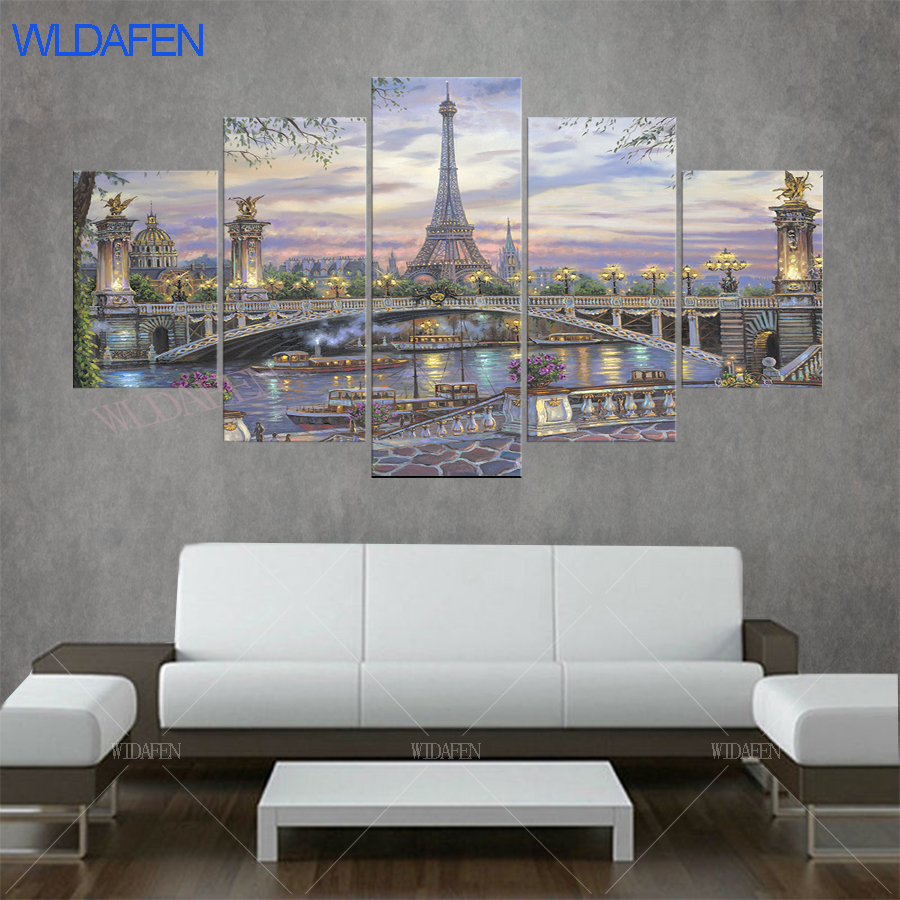 5 piece canvas art bridge Eiffel Tower flower France ligths painting Paris river ship painting wall pictures for living room ...
