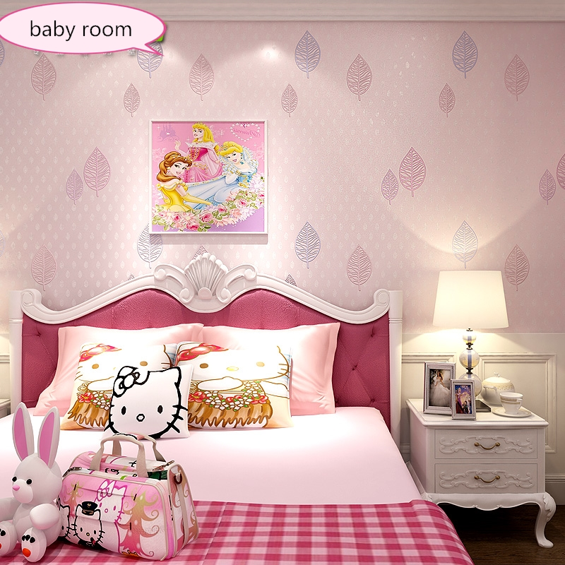 New Fashionable children's room wallpapers boy non-woven room decoration girl princess pink small fresh leaves lovely wall paper english wallpaper roll for baby room lovely hand painted wallpapers children wall paper mural non woven wallpapers for boy room