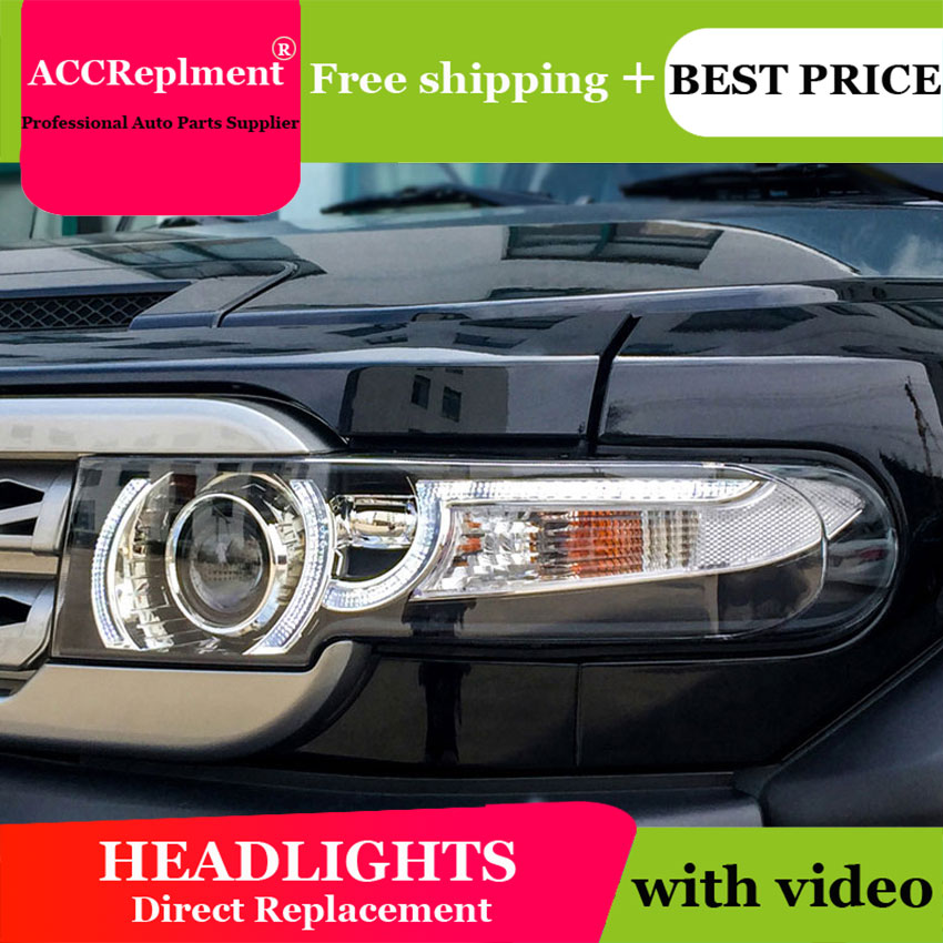 Car Styling for Toyota FJ Cruiser Headlights New FJ150 LED Headlight Cruiser drl Lens Double Beam H7 HID Xenon