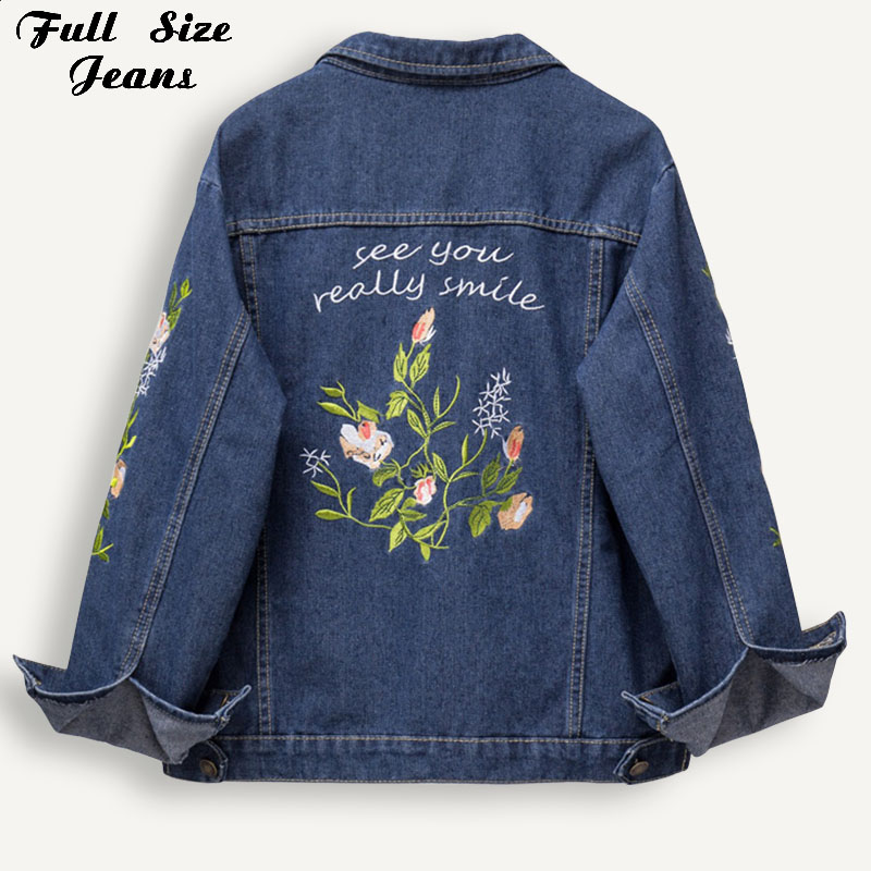 Plus Size Floral Embroidery Short Jacket   Coat   3Xl 4Xl Spring Women Outwear Fashion Chi Bomber Denim Jackets Mom Jeans   Coats