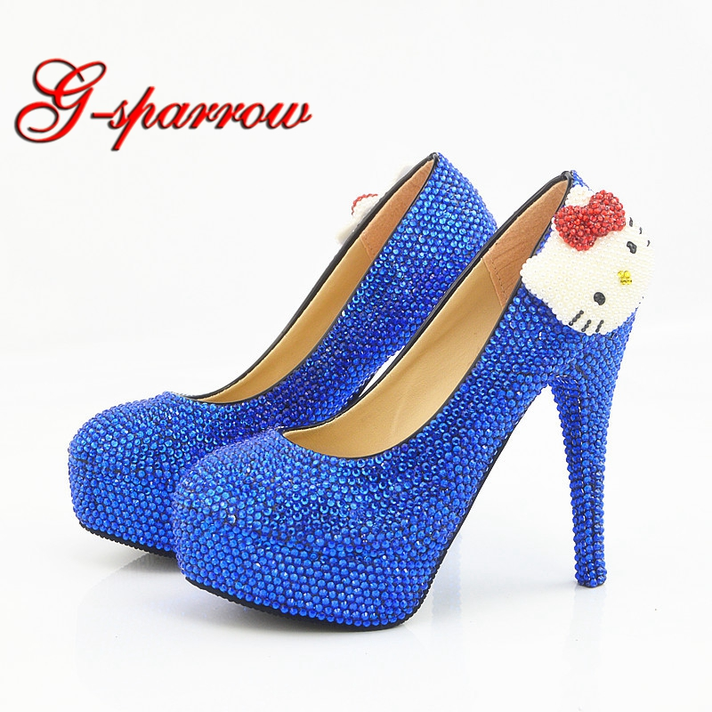 Royal Blue Rhinestone Hello Kitty Wedding Shoes Wholesale