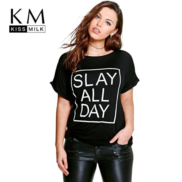Kissmilk plus size moda mulheres letra t-shirt impressão solto top tees clothing casual sólidos o pescoço das senhoras t-shirt big size 6xl