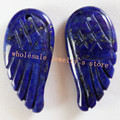 (Min. Order is $10) Yuteng 6pcs Lapis Lazuli Feather Pendant Bead Set 30x15x5mm RT22