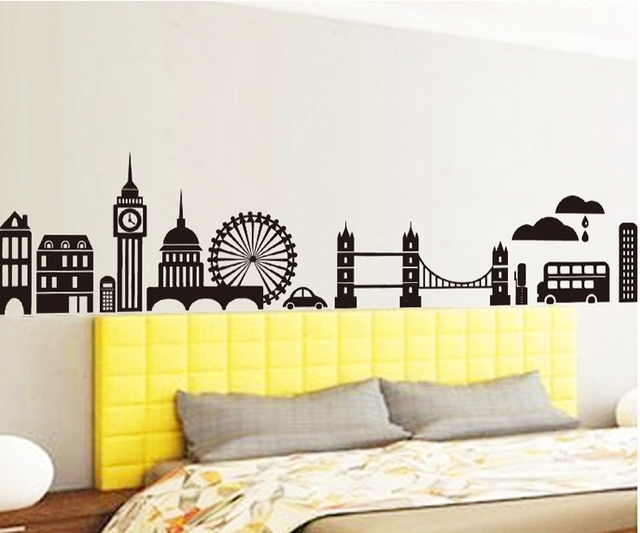 Black City Buildings Wall Stickers Decals Man Boy Wallpaper Mural Personality Room Home Office Salon Decor