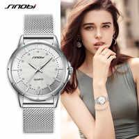 SINOBI ファッションの高級ブランドの女性のクォーツ時計クラシックゴールド/シルバーダイヤモンド腕時計 Montre ファム 2019 女性時計