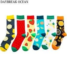 Новые модные мужские и женские носки унисекс; Новинка; забавные носки из чесаного хлопка с фруктами; мужские носки больших размеров; от производителя