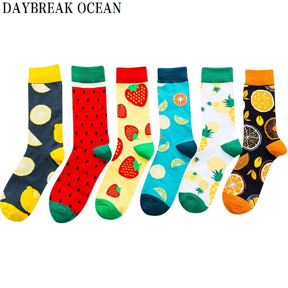 Unisex New Fashion Mens Socks Women Novelty Funny Fruits Combed Cotton Socks Men's Big Size Crew Socks Manufacturer Wholesale