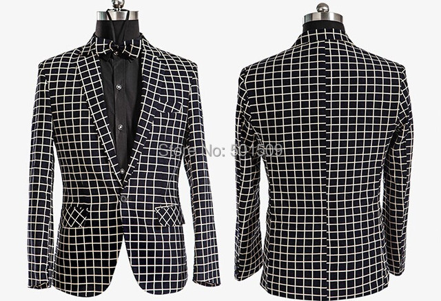 Free ship mens check pattern tuxedo suit/stage performance