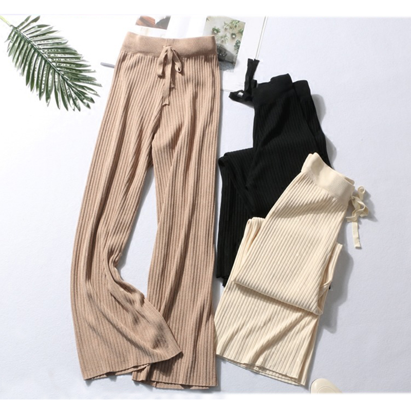 2019 New Spring Autumn High Waist Knitting   Wide     Leg     Pants   Women Casual Loose Drawstring Ankle-Length   Pants   Sashes trousers Mw605