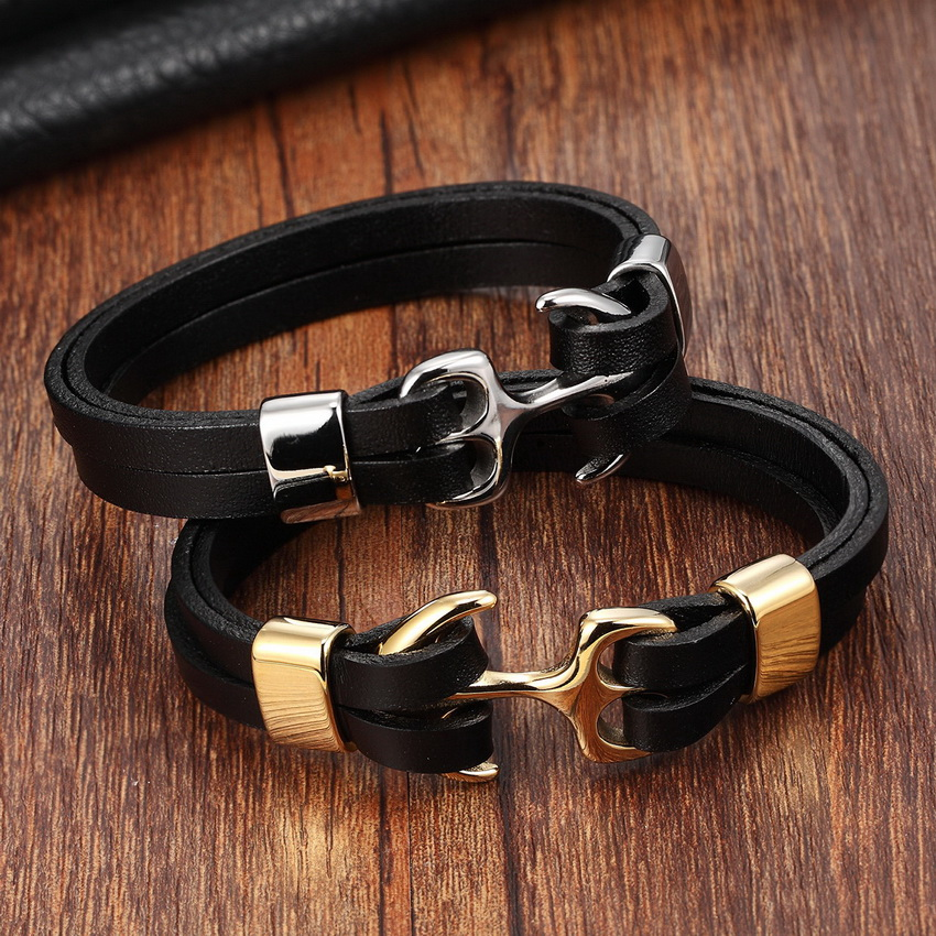 XQNI Genuine Leather Bracelet Stainless Steel Chain Bracelet Men&Ladies Gold/Silver Color Leather Bracelet for women Cuff Buckle delicate solid color glazed t shaped cuff bracelet for women