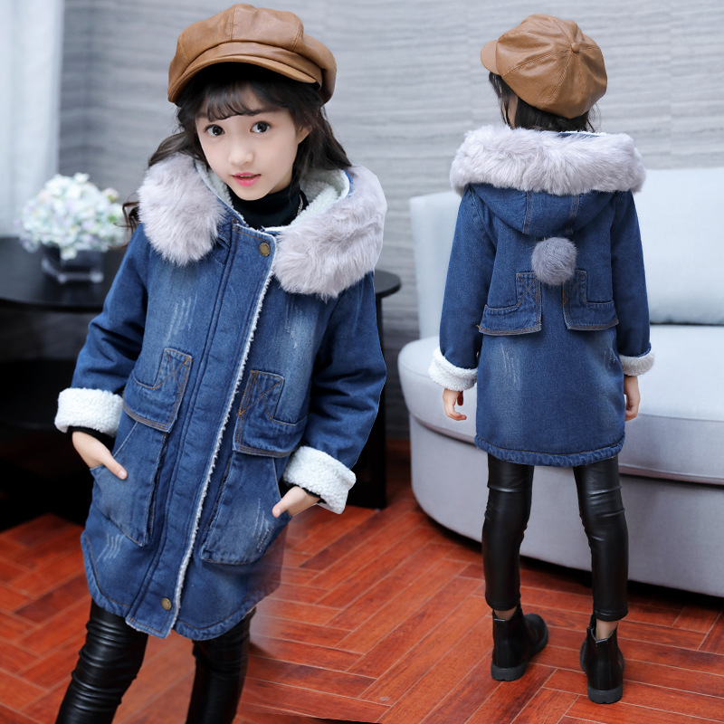 цены Children Girls Denim Jacket Large Fur Collar Hooded Denim Outerwear Winter Lambswool Cowboy Jacket for Girls 4 6 8 10 12 Years
