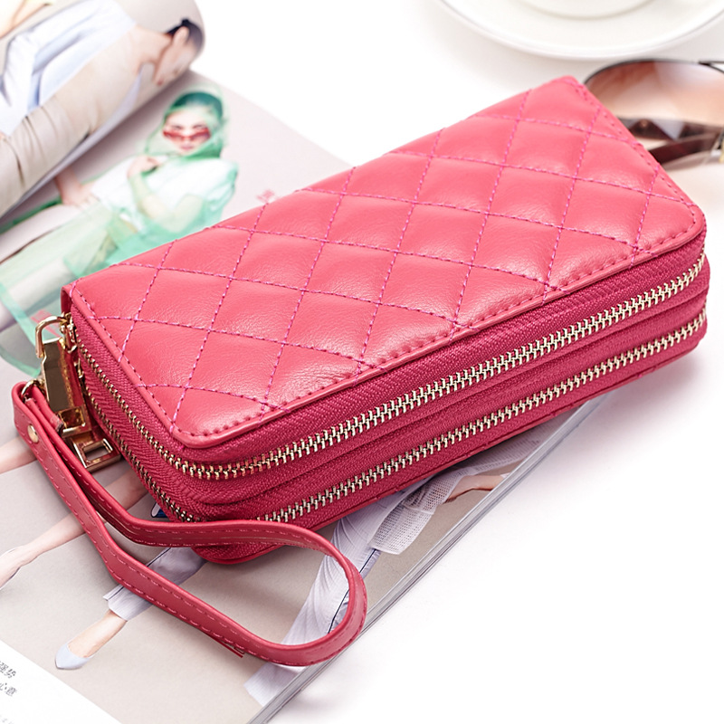 Fashion Double Zipper Ladies Genuine Leather Long Wallet New Rhombic Women's Clutch Bag Large Capacity hand bag
