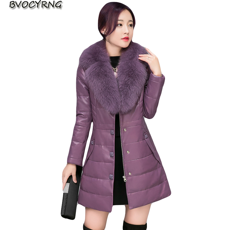 2018 High Quality Fox fur sheep skin Winter Women   Leather   Coat Female Plus Size Pu   Leather   Jacket Thick Down Slim Long Parka