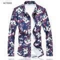 Новая Мода Повседневная Мужчины Рубашка С Длинным Рукавом Рубашки Мужчины Высокого Качества хлопок Цветочные Рубашки Мужская Одежда Плюс Размер 7XL 6XL 5XL 4XL 5z