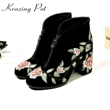 Krazing Pot 2018 high street genuine leather embroidery fashion runway boots high heel party women zipper warm ankle boots L11