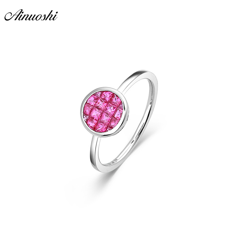 AINUOSHI Genuine Gemstone 18K Natural Ruby Ring 0.71ct White Gold Round Ring AU750 Fine Wedding Brand Women Trendy Engagement 18k gold ring pair ring lovers couple simple and elegant male female solid au750 wedding engagement hot sale new trendy size7 18