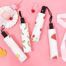 Cute Fruit Automatic Three-folding Foldable Umbrellas Sun Creative Women Female Ladies Lady Windproof Rain Lovely  Umbrella