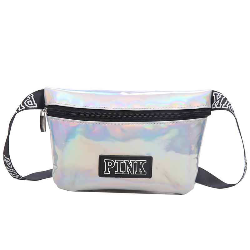 fanny pack Laser pu belt bag pink Banana Bags letter waist bag holographic female belt fashion heuptas Handbags purse pouch belt holographic belt purse