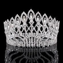 Vintage Big Rhinestone Prom Princess Crown Crystal Bride flower Tiara Bridal  Head Jewelry Pageant Wedding Hair Accessories f743e9596e58
